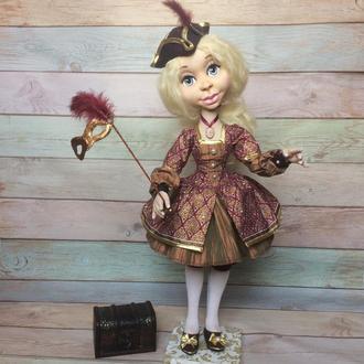 Коломбіна-текстильна шарнірна інтер'єрна лялька