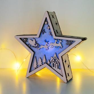 """Рождественский светильник - звезда """"Санта и олени"""""""