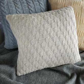 Диванна подушка (наволочка) в'язана колір білий льон на гудзиках - 40*40 см