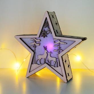 """Рождественский светильник - звезда """"Лесное счастье"""""""