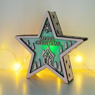 """Різдвяний світильник зірка """"Merry Christmas"""""""