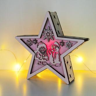 """Рождественский светильник - звезда """"Санта и снеговик"""""""