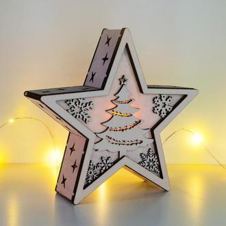 """Рождественский светильник - звезда """"Новогодняя елочка"""""""