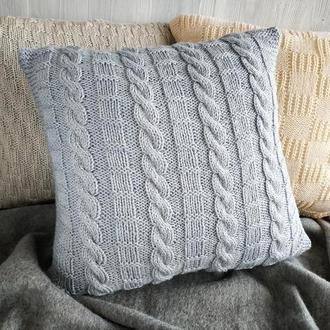 Диванная подушка (наволочка) вязаная серая на пуговицах - 40*40 см
