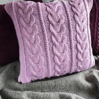 Диванная подушка (наволочка) вязаная розовая на пуговицах - 40*40 см