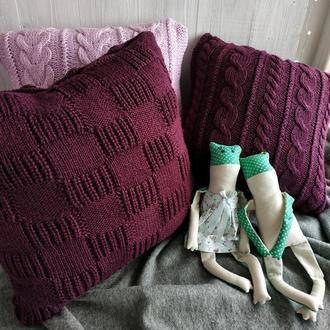 Диванная подушка (наволочка) вязаная ежевика на пуговицах - 40*40 см