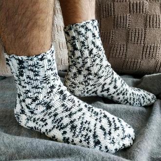 Мужские вязаные шерстяные носки - белые с черным, меланж - 43-46 р