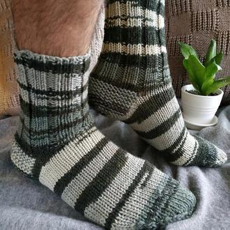 Мужские вязаные шерстяные носки в полоску - серо зеленые - 43-46 р
