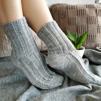 Женские вязаные шерстяные носки - серые - 39-40