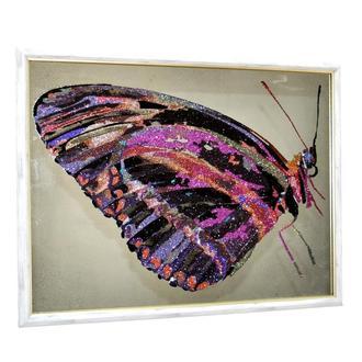 Картина за зеркалом с кристаллами и глиттером Crystal Monarch butterfly Бабочка Монарх №3414