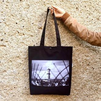 Черный арт шоппер с фото принтом Львов, эко сумка с карманом, сумка для покупок, хлопковая торба