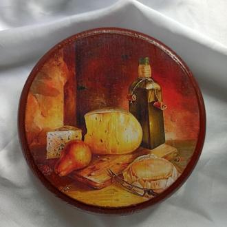 Сырная доска толстушка ′Натюрморт-5′ для оригинальной подачи закусок,для сервировки