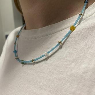 Ожерелье из бисера и миллефиоров