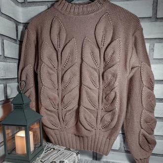 Крутой и стильный свитер с объёмным узором Листья.Итальянский состав🇮🇹Ручная работа