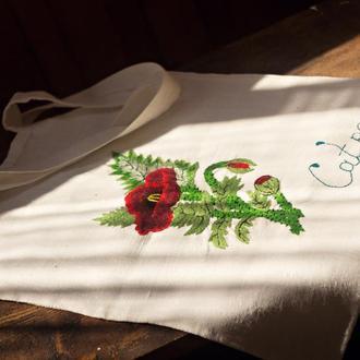 Льняная эко-сумка с ручной вышивкой гладью