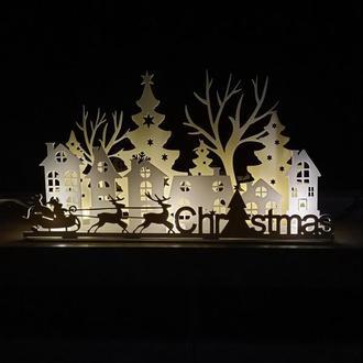 Сучасна новорічна композиція -панель з ледсвічками для декор каміну, підвіконня, комоду, столу