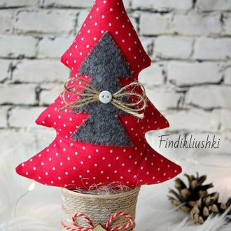 Текстильная елочка, новогодний сувенир, ёлка, рождественская ёлочка