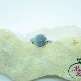 Кольцо из стали с аметистом, лабрадором, лунным камнем, розовым кварцем