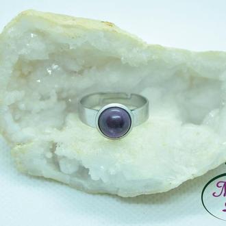 Кольцо из мед. стали с аметистом, лабрадором, лунным камнем, розовым кварцем