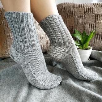 Женские вязаные шерстяные носки - серые - 37-39 р