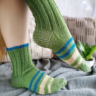 Женские вязаные шерстяные носки в полоску - зеленые - 38-40 р