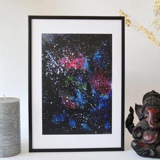 Постер в рамке. Авторская иллюстрация Вселенная