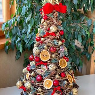 Новогодняя декоративная елка из лозы