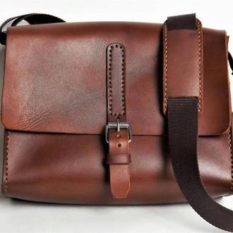 Вместительная кожаная сумка через плечо