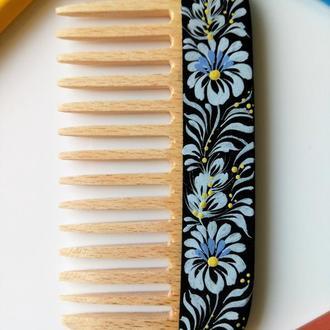 Гребень деревянный, ручная петриковская роспись Цветы