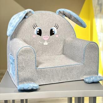 Мягкое детское кресло «Зайка» с ушками, водоотталкивающая ткань