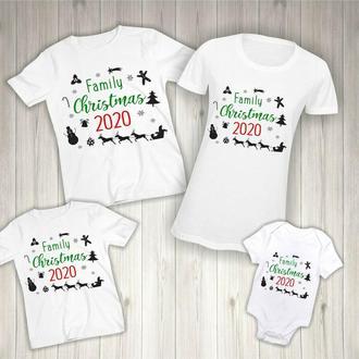 """ФП006371Футболки Фэмили Лук Family Look для всей семьи """"Семейное Рождество"""" Push IT"""