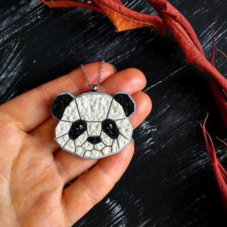 Авторская подвеска черно-белая Панда. Геометрический кулон Панда ручной работы. Интересный кулон