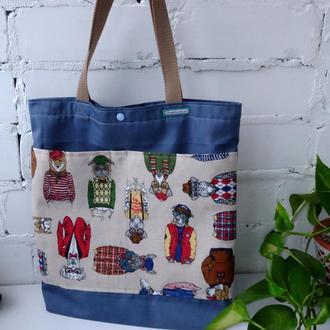 """Эко сумка для покупок """"City dog"""" сумка пакет, эко торба, шоппер с собаками"""