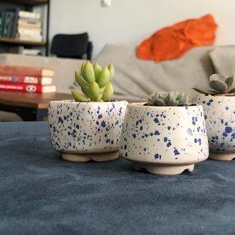 Белый керамический горшок для кактусов, суккулентов, размер М, серия Блаугранити