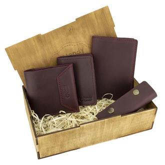 Женский подарочный набор Handycover №44 бордовый (кошелек, 2 обложки, ключница) в коробке