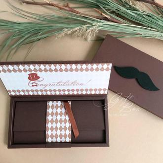 """Gift Box """"Gentelman"""" цвет 1 (коричневый)- открытка в коробочке"""