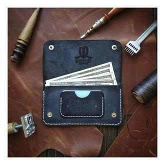 Кожаный Лонгер клатч ручной работы Crazy Horse Синий