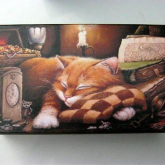 шкатулка-купюрница Рыжий кот