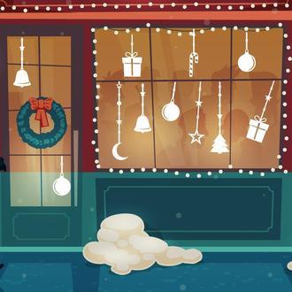 """Украшение на Новый Год """"Ігрушки"""". Наклейки на окна. Новогодние наклейки. Новорічні прикласи"""