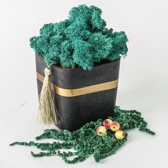 """Новорічний сувенір зі скандинавським мохом """"Black&Gold"""". Корпоративний подарунок."""