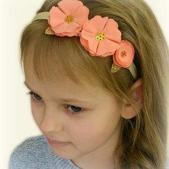 Повязка на голову для маленькой принцессы, Ободок с нежыми цветами
