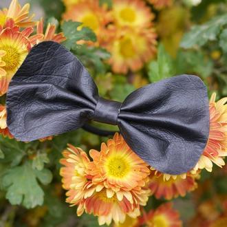 Резинка для волос с черным бантом из натуральной кожы *2