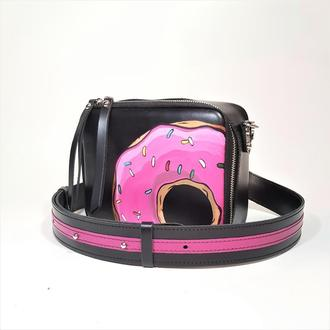 """Женская сумка """"Квадро"""" натуральная кожа чёрного цвета, ручная роспись, сумка через плечо, кроссбоди"""