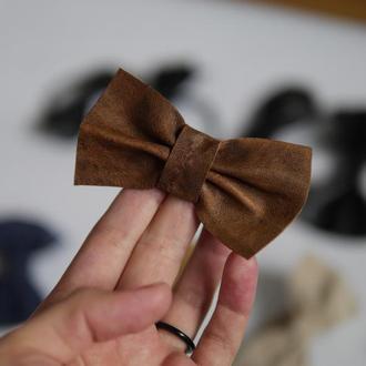 Резинка для волос с коричневым бантом с натуральной кожы *11