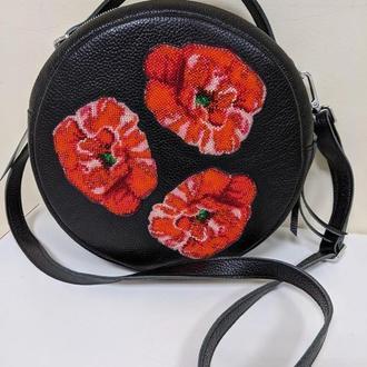 Кожаная сумка через плечо, сумка с вышивкой