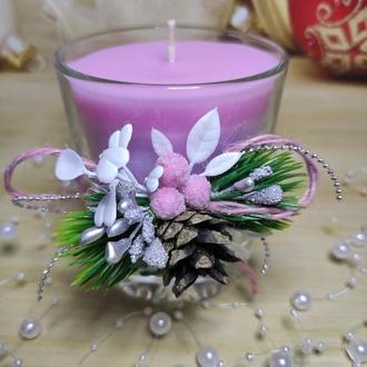 Новорічна свічка у склянці з ароматом дині
