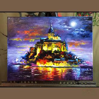 Картина маслом 30х40 Мон-Сен-Мише́ль
