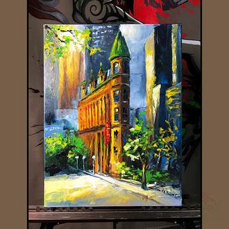 Картина маслом 30х40 пейзаж города Торонто