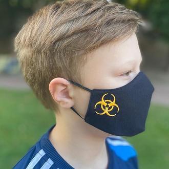 Маска «Danger» черная/оранжевая детская 7-12 лет