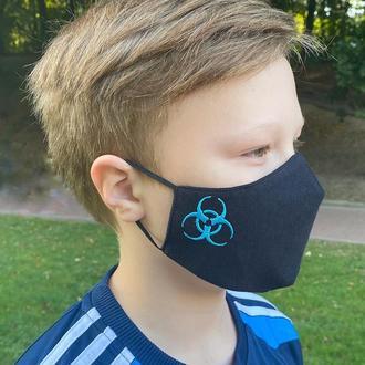 Маска защитная «Danger» черная/голубая детская 7-12 лет